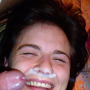 Cute girlfriend flashing her privates in public and receiving facial