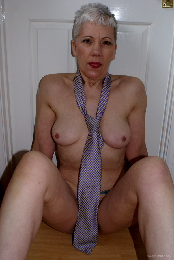 GILF dressed in just a Shirt and Tie then stripping playing