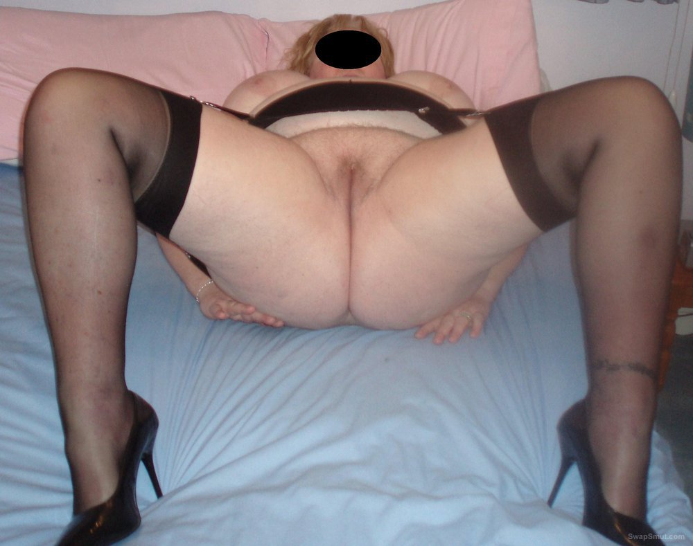Bbw Wife Wearing Stockings And Suspenders Showing Pussy