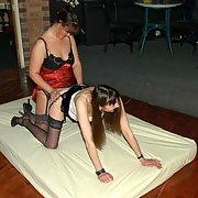 Leggy mature swinging wife BETH having some lady love strap on sex