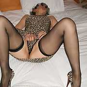 Hot stuff from a hot wife in leopard print dress and panties like it