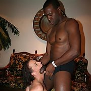 Nasty mature sucking her large muscular black lover before sex
