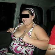 Fun time out with my wonderful BBW wife flashing boobs in public