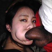 Asian chick showing Pussy and ass full of Cum taking a big dick