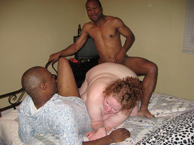 Chubby bitch Cojida getting banged by two black men cuckold