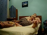 Blonde amateur sucking off lover in the bedroom making home porn