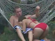 Sexy coed slut gets fucked in backyard by horny fratboy voyeur porn