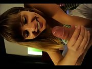 Great Fellatio in Striped Long Socks POV amateur blowjob