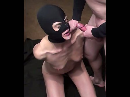 Submissive wife Facial bound and hooded fetish cum shot