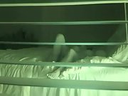 Spy cam through blinds recording wife and husband down and dirty