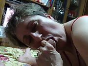 Mature housewife licking and sucking my penis while I film her