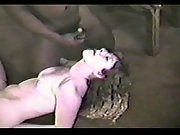 Amateur slut fucking with two black guys
