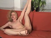 Blonde Naked on the couch in nothing but heels, showing her pussy and ass