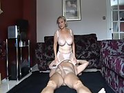 A mature UK GILF fucking a younger stud and rocking him silly