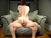 Redhead Cuckold Fun Screwing On The Couch Bareback Sex