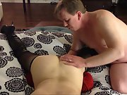 Eating out the wife on the bed touching her before penetrating
