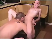 Amateur Blond Gets Fucked On A Table