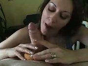 Blowjob with a doughnut